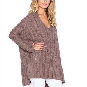 Free People chunky cable knit oversized sweater